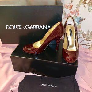 Dolce & Gabbana Bordeaux Detailed Heel Pumps 36.5